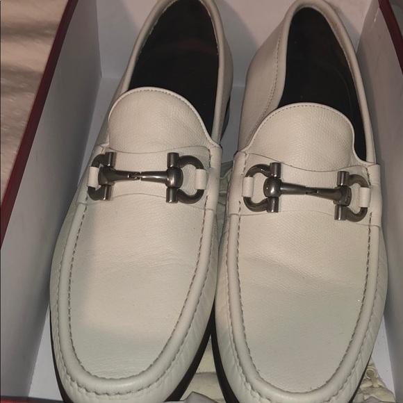 Salvatore Ferragamo Mens White Leather